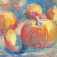 Happy Thanksgiving. ACEO print. Harvest time pumpkin painting. Art by Brandy Cattoor. Painting of fall orange, red, and green