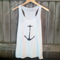FREE SHIPPING- Nautical Anchor, Hipster Anchor, Nautical Tank top (women, teen girls)