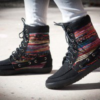Bumper Hanya-02 Yarn Lace Up Moccasin Ankle Bootie - Shoes 4 U Las Vegas