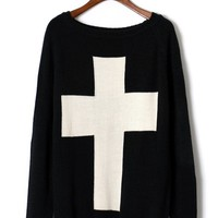 Black Long Sleeve Sweater with Contrast Cross Front