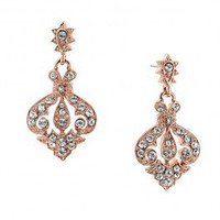 Classical Rose Gold & Crystal Drop Earrings