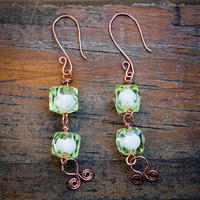 Lime Green Cube Bead Earrings
