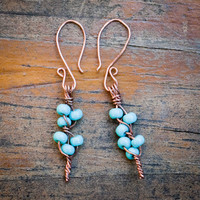 Turquoise Bead Flower Branch Earrings