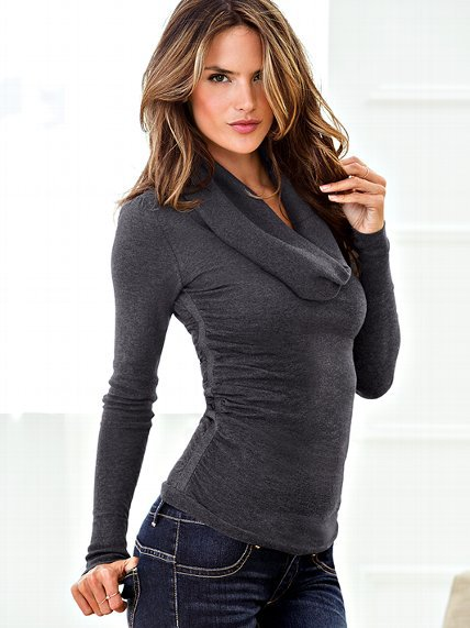 Ruched Cotton Cowlneck Sweater
