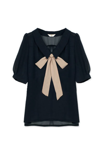 Feminine Bowknot Navy Blue Shirt(Coming Soon) [NCSHZ0173] - $48.99 :