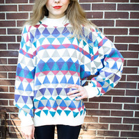 Customizable Cream Geometric Oversize Studded Sweater
