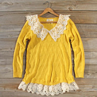 Snowbell Lace Sweater in Mustard, Sweet Bohemian Sweaters