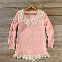 Snowbell Lace Sweater in Pink, Sweet Bohemian Sweaters