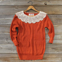 Lacecap Sweater in Rust, Sweet Cozy Lace Sweaters