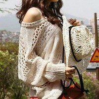 Uptown Off the Shoulder Soho Chic Cream Sweater ~ Darling Crochet Knit 9-106 L