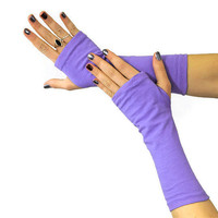Fingerless Arm Warmer Gloves Periwinkle Purple Orchid