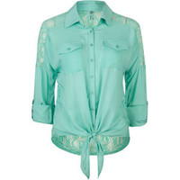 FULL TILT Lace Back Womens Tie Front Top 203134523 | Blouses & Shirts | Tillys.com