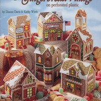 Cross Stitch Book - Gingerbread Village on perforated plastic