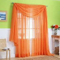 "Amazon.com: 2 Piece Solid Orange Sheer Window Curtains/drape/panels/treatment 60""w X 84""l: Home & Kitchen"