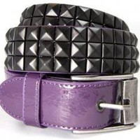 ROCKWORLDEAST - Studded Belts, 3 Row Black Studded Belt, Purple Leather