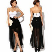 Women Asymmetric Cocktail Party Evening Dress Sexy Strapless Dress Summer Q704