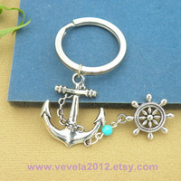 Pretty retro silver anchor &rudder Bracelet keychain---dream keychain