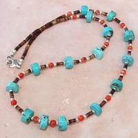Turquoise Coral Shell Sterling Gemstone Necklace Handmade OOAK Unisex