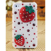 Apple iPhone4 3GS Pearl Crystals Strawberry Cover - GULLEITRUSTMART.COM