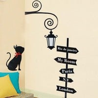 Street Lamp & Black Cat Removable Wall Decals at Online Household Supplies Store Gofavor
