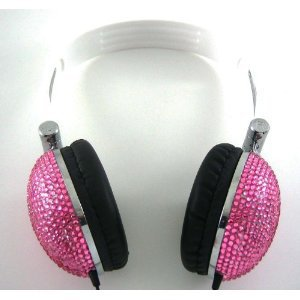 Amazon.com: Pink Crystal Rhinestone Bling DJ Over-Ear Headphones: Electronics