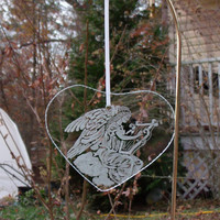 Holiday Glass angel engraved ornament , heart shaped glass angel christmas ornament, hand engraved