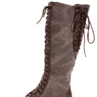 Dollhouse Europa Brown Canvas Two-Tone Cap-Toe Lace-Up Boots