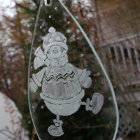 Snowman engraved glass Christmas ornament, holiday decor , hand engraved glass etsy black friday