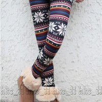 Snow Paint Style Womens Soft Knitted Warm Multi-patterns Leggings Tights Pants