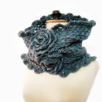 Crochet Flower Cowl Snood Neckwarmer