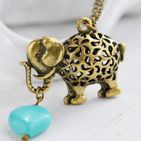 Lovely Elephant Necklace,Filigree Elephant Jewelry,Puffy Cute Elephant Pendant,Animal Jewelry,Lucky Necklace,Heart Jewelry,Romance,Turquoise