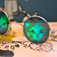 VTG 90s Hologram KITTY CAT Round Sunglasses