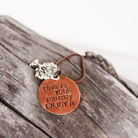 Tree life necklace - inspirational necklace copper - grow growth journey quote