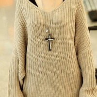 Thick Wollen Yarn Knit Pullover Sweater Scoop Neck Batwing Sleeve Jumper Casual