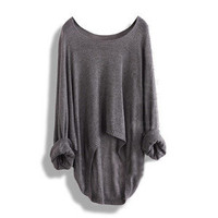 New Batwing Women Lady&#x27;s Casual Loose Asymmetric Knit Coat Top Sweater 8 colours