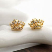 JUICY COUTURE Women's Stud Earrings CROWN Solid Gold
