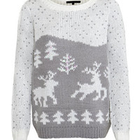 Charcoal Scenic Reindeer Knitted Jumper