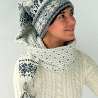 Knit hat - scarf with christmas snowflake and deer ornament, made of wool