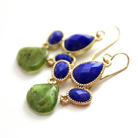 Navy blue earrings with vessuvianite stones