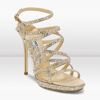 Jimmy Choo Silk Satin Crystal Platform Sandal