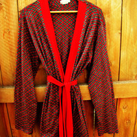 vintage lightweight red plaid Christmas morning robe. made by Weldon. S. M. L.
