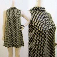 60s Dress Vintage MOD Gold Net Go-go Mini A Line S M