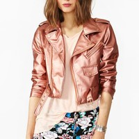 Cropped Moto Jacket - Copper