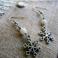 Silver Snowflake Earrings Winter Weather Jewelry