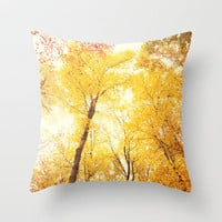 Yellow Fall Throw Pillow by Erin Johnson | Society6