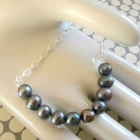 Bold Gray Pearl Necklace by ang4332 on Etsy