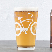 2 cruiser bike pint glasses white bicycle by vital on Etsy