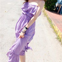 Bandeau Maxi Purple Dress with Ruffle