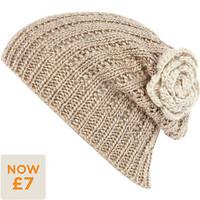 Cream flower knitted beanie hat