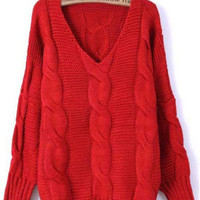 Red Batwing Long Sleeve Sweater S006436